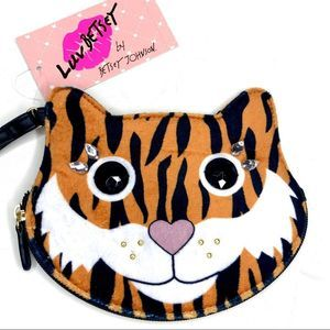 Luv Betsey Flocked Tiger Wristlet Coin Purse